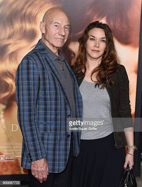 Actor Patrick Stewart and wife Sunny Ozell arrive at the premiere of Focus Features' 'The Danish Girl' at Westwood Village Theatre on November 21...
