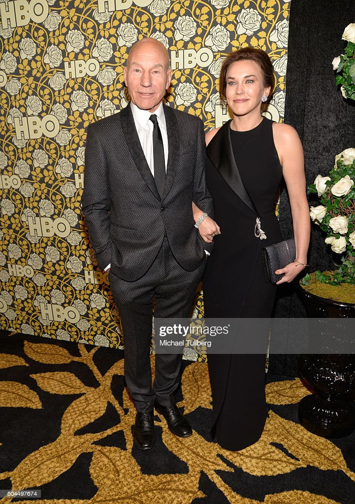 Actor Patrick Stewart and wife Sunny Ozell attend HBO's post 2016 Golden Globe Awards party at Circa 55 Restaurant on January 10, 2016 in Los Angeles, California.