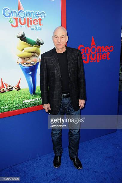 Actor Patrick Stewart arrives at the Los Angeles premiere of 'Gnomeo and Juliet' at the El Capitan Theatre on January 23 2011 in Hollywood California