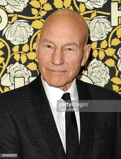 Actor Patrick Stewart attends HBO's post 2016 Golden Globe Awards party at Circa 55 Restaurant on January 10 2016 in Los Angeles California