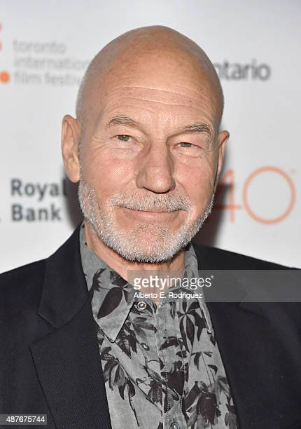 Actor Patrick Stewart attends the 'Green Room' and 'The Chickening' premieres during the 2015 Toronto International Film Festival at Ryerson Theatre...