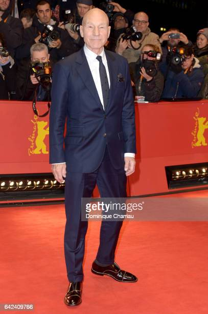 Actor Patrick Stewart attends the 'Logan' premiere during the 67th Berlinale International Film Festival Berlin at Berlinale Palace on February 17...