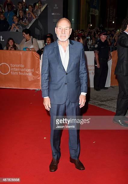Actor Patrick Stewart attends The Martian premiere during the 2015 Toronto International Film Festival at Roy Thomson Hall on September 11 2015 in...