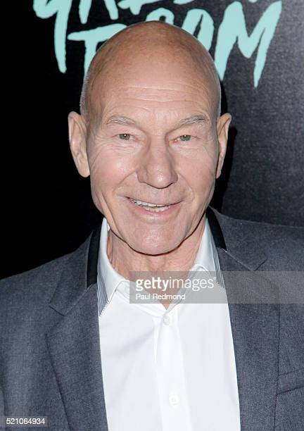 Actor Patrick Stewart attends the Premiere of A24's 'Green Room' at ArcLight Hollywood on April 13 2016 in Hollywood California