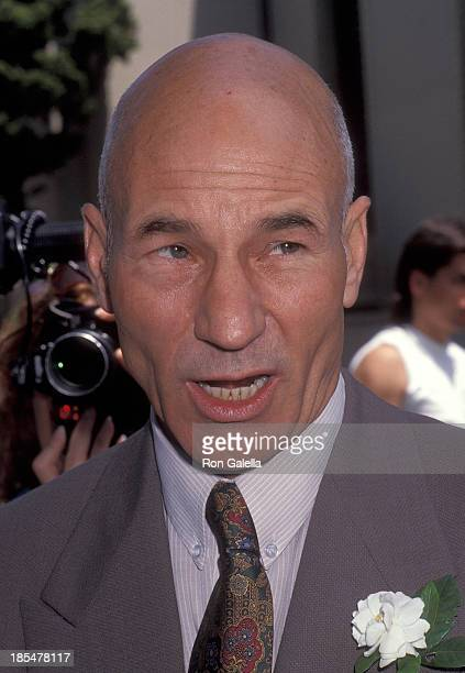 Actor Patrick Stewart attends the Wedding of Marina Sirtis and Michael Lamper on June 21, 1992 at St. Sophia Cathedral in Los Angeles, California.