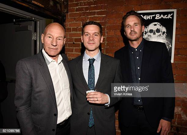 Actor Patrick Stewart director Jeremy Saulnier and actor Kai Lennox attend the GREEN ROOM Los Angeles Premiere on April 13 2016 in Hollywood...