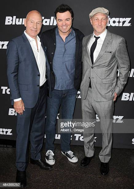 Actor Patrick Stewart Executive producer Seth Macfarlane and creator Johnathan Ames arrive for the Premiere Of STARZ Blunt Talk held at DGA Theater...