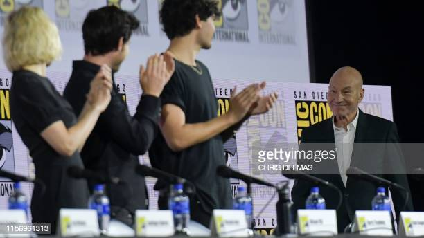 Actor Patrick Stewart is applauded as he arrives onstage during the Star Trek: Picard panel in Hall H at the Convention Cener during Comic Con in San...