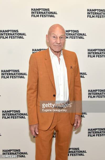 Actor Patrick Stewart poses for a photo prior to A Conversation With… Patrick Stewart at East Hampton Middle School during Hamptons International...