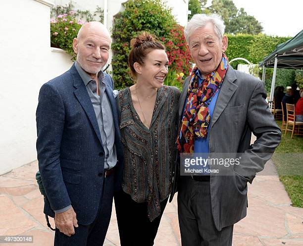 Actor Patrick Stewart, singer Sunny Ozell, and actor Ian McKellen attend Brunch With Sir Ian McKellan Hosted By British Consulate-General at British...