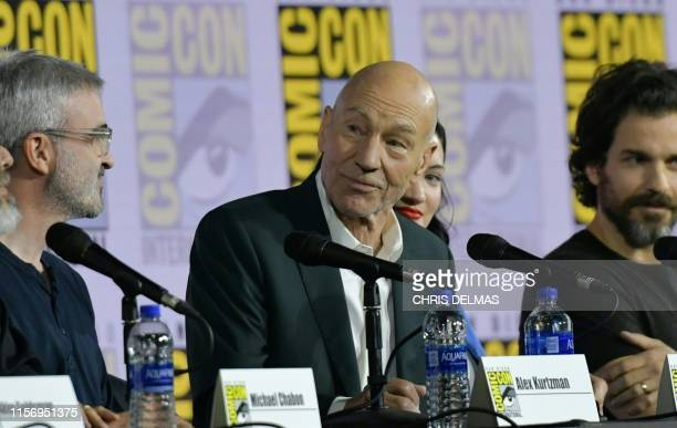 Actor Patrick Stewart speaks on stage for the Star Trek: Picard panel during 2019 Comic-Con International at San Diego Convention Center on July 20,...