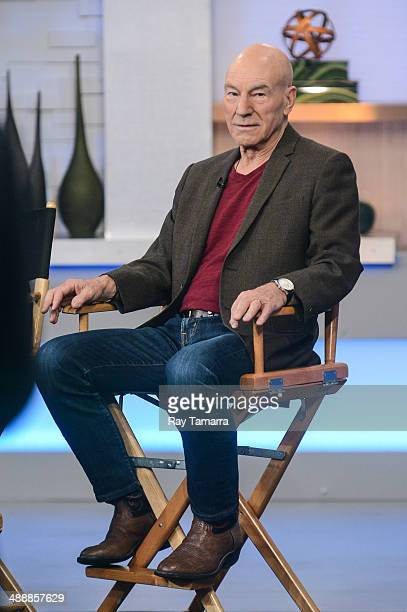Actor Patrick Stewart tapes an interview at 'Good Morning America' at the ABC Times Square Studios on May 8 2014 in New York City