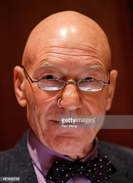 Actor Patrick Stewart who has starred in several of 20th Century Fox's blockbuster XMen films attends the presentation of specially selected costumes...