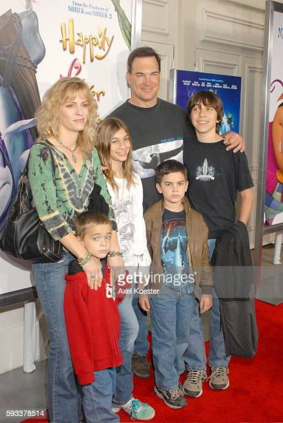 Actor Patrick Warburton and family arrive at the Los Angeles premiere of the movie 'Happily N'Ever After' at Mann's Festival Theater in Westwood