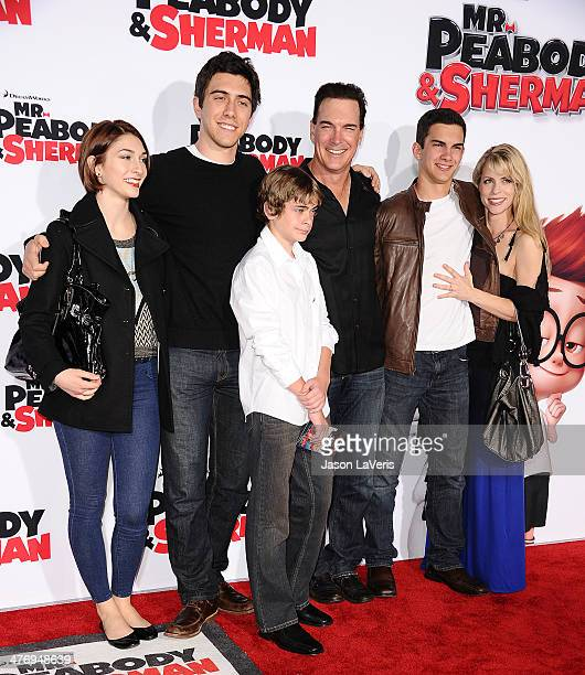 Actor Patrick Warburton wife Cathy Jennings and family attend the premiere of Mr Peabody Sherman at Regency Village Theatre on March 5 2014 in...