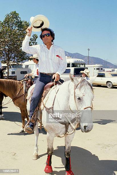 Actor Patrick Wayne attends Second Annual Ben Johnson Celebrity Rodeo on August 13 1989 at the Los Angeles Equestrian Center in Los Angeles California