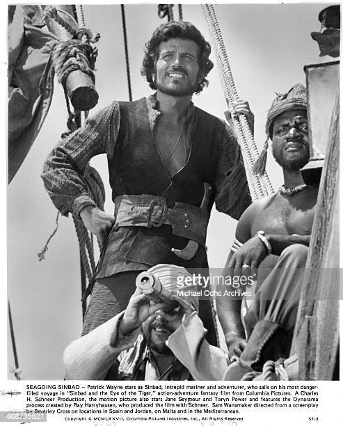 Actor Patrick Wayne on set the movie Sinbad and the Eye of the Tiger circa 1977