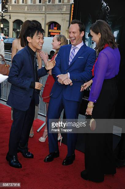 Actor Patrick Wilson director James Wan and actress Vera Farmiga attend the premiere of New Line Cinema's The Conjuring 2 during the 2016 Los Angeles...