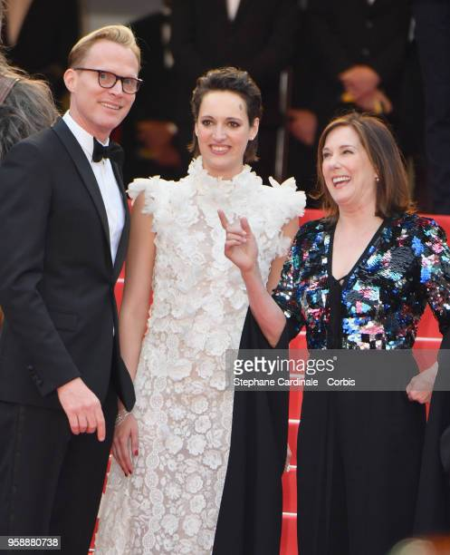 Actor Paul Bettany actress Phoebe WallerBridge and producer Kathleen Kennedy attend the screening of Solo A Star Wars Story during the 71st annual...