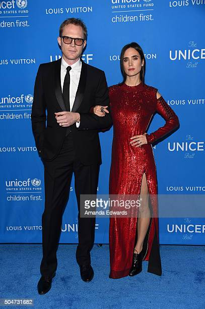 Actor Paul Bettany and actress Jennifer Connelly arrive at the 6th Biennial UNICEF Ball at the Beverly Wilshire Four Seasons Hotel on January 12 2016...