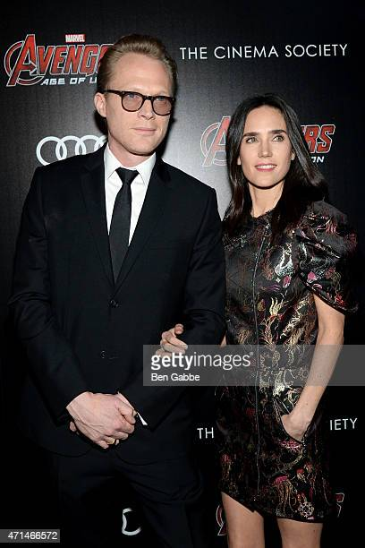 Actor Paul Bettany and actress Jennifer Connelly attend The Cinema Society Audi host a screening of Marvel's 'Avengers Age Of Ultron' at the SVA...