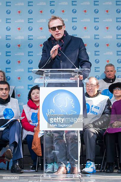 Actor Paul Bettany attends the 2015 International Women's Day March at Dag Hammarskjold Plaza on March 8 2015 in New York City