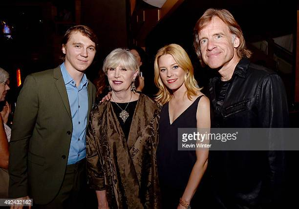 """Actor Paul Dano, Melinda Ledbetter Wilson, actress Elizabeth Banks and director Bill Pohlad pose at Roadside Attraction's """"Love and Mercy"""" DVD..."""