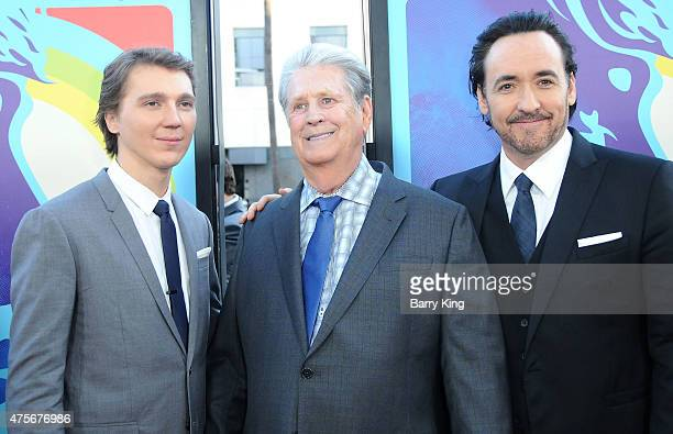 Actor Paul Dano musician Brian Wilson and actor John Cusack attend the premiere of Lionsgate and Roadside Attractions' Love Mercy at the AMPAS Samuel...