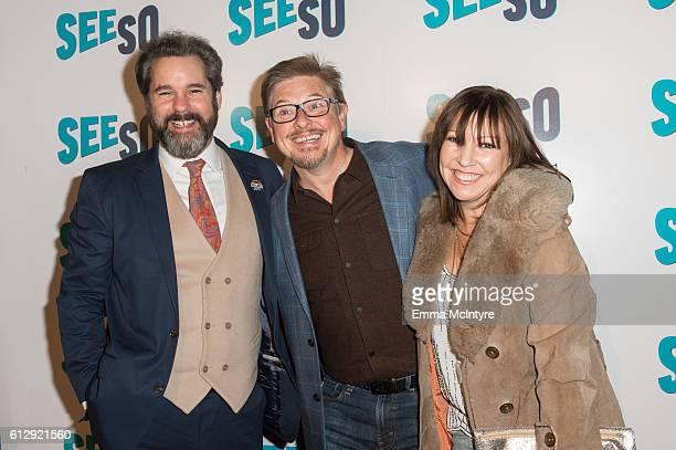 Actor Paul F Tompkins actor/comedian Dave Foley and Crissy Guerrero arrive at the Seeso original screening of 'Bajillion Dollar Properties' season 2...