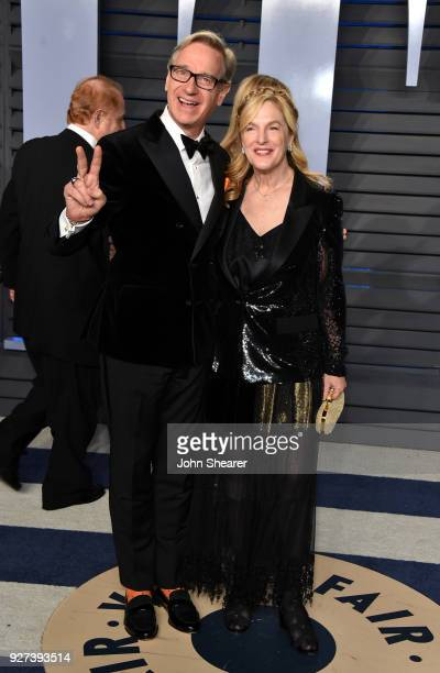 Actor Paul Feig and Laurie Feig attend the 2018 Vanity Fair Oscar Party hosted by Radhika Jones at Wallis Annenberg Center for the Performing Arts on...