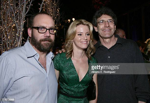 Actor Paul Giamatti actress Elizabeth Banks and Warner Bros president Alan Horn attend the after party at Warner Bros Pictures' premiere of Fred...
