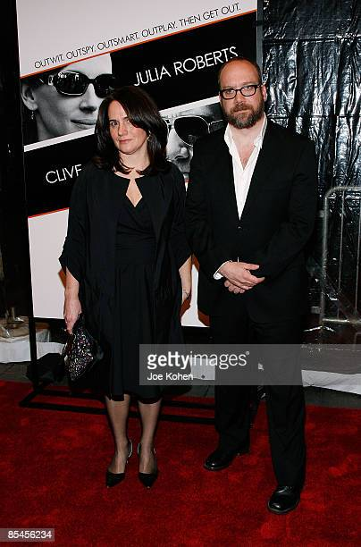 Actor Paul Giamatti and his wife Elizabeth Cohen attends the premiere of Duplicity at the Ziegfeld Theater on March 16 2009 in New York City