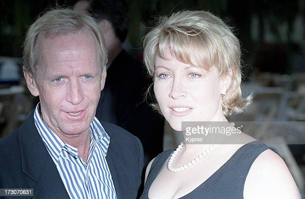 Actor Paul Hogan with his wife actress Linda Kozlowski circa 1990
