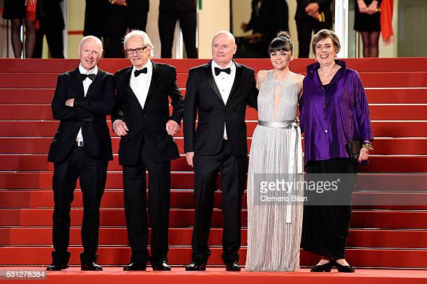 Actor Paul Laverty Director Ken Loach actor Dave Johns actresses Hayley Squires and Rebecca O'Brien attend the 'I Daniel Blake' premiere during the...