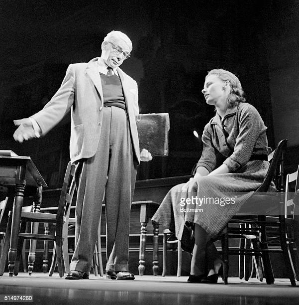 Actor Paul Muni rehearses a scene from Inherit the Wind with Bethel Leslie in preparation for his return tomorrow evening. Muni left the leading role...