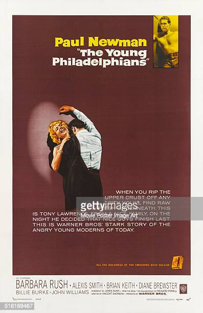 Actor Paul Newman appears on a poster for the movie 'The Young Philadelphians' 1959