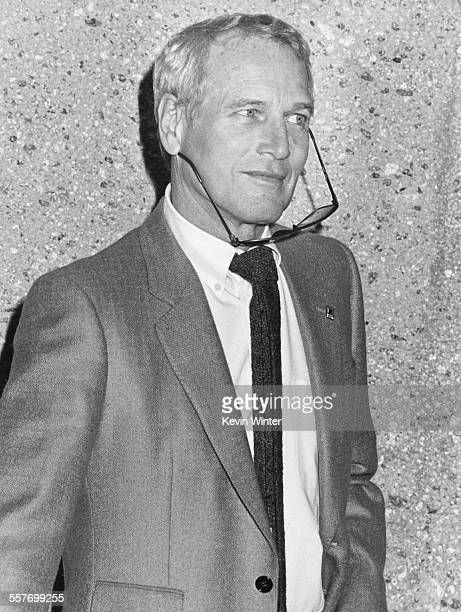 Actor Paul Newman at a press conference announcing the opening of the Scott Newman Center for Drug Abuse Prevention and Health Communication Research...