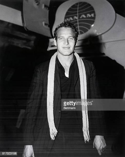 Actor Paul Newman at the airport