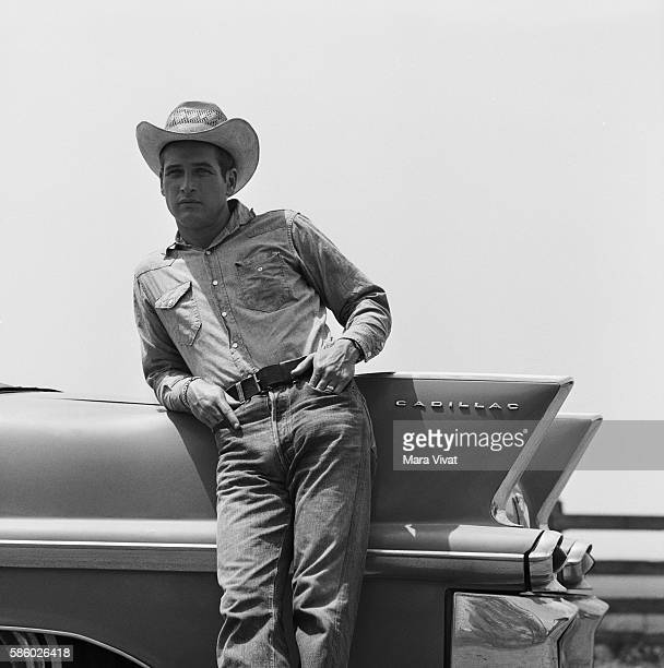 Actor Paul Newman leans against the tail fin of a pink 1958 Cadillac in his role as a ruthless charismatic rancher in Martin Ritt's 1963 film Hud