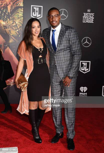 Actor Paul Pierce and Julie Landrum arrive at the premiere of Warner Bros Pictures' 'Justice League' at the Dolby Theatre on November 13 2017 in...