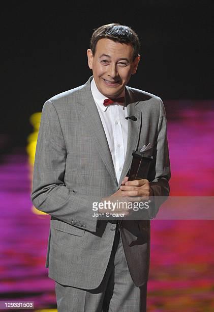 """Actor Paul Reubens AKA Pee-Wee Herman speaks onstage at Spike TV's """"SCREAM 2011"""" awards held at the Universal Studios Backlot on October 15, 2011 in..."""