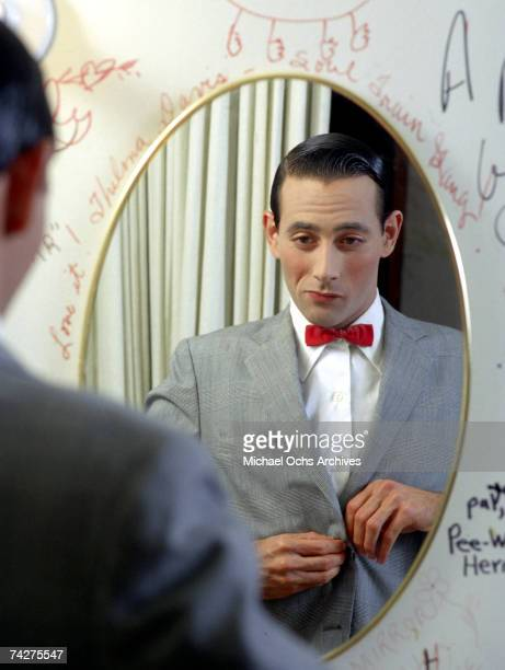 Actor Paul Reubens poses for a portrait dressed as his character Peewee Herman in May 1980 in Los Angeles California