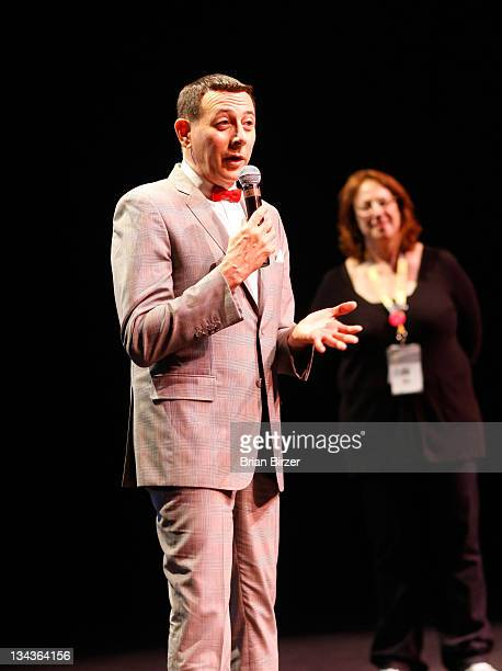 Actor Paul Reubens speaks at the 2011 SXSW Music Film Interactive Festival 'The PeeWee Herman Show' Premiere at The State Theatre on March 12 2011 in...