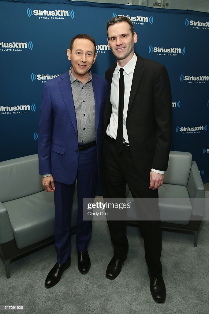 Actor Paul Reubens takes part in SiriusXM's 'Town Hall' with Paul Reubens hosted by Dalton Ross (R) at the SiriusXM Studios on March 23, 2016 in New York City.