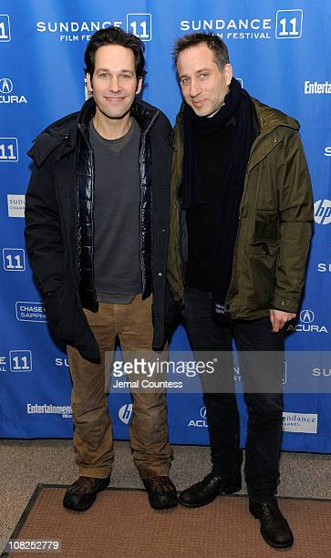 Actor Paul Rudd and director Jesse Peretz attends My Idiot Brother Premiere at the Eccles Center Theatre during the 2011 Sundance Film Festival on...