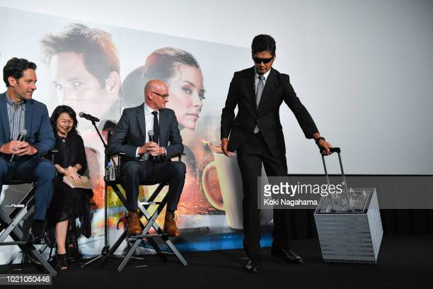 Actor Paul Rudd and Director Peyton Reed attend the 'AntMan And The Wasp' premiere on August 21 2018 in Tokyo Japan