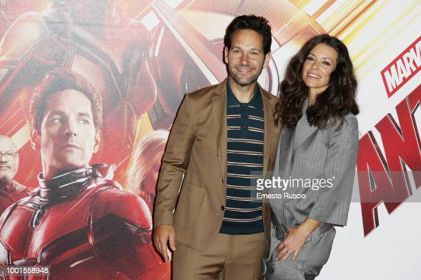 Actor Paul Rudd and Evangeline Lilly attend 'AntMan And The Wasp' photocall at Hotel De Russie on July 19 2018 in Rome Italy