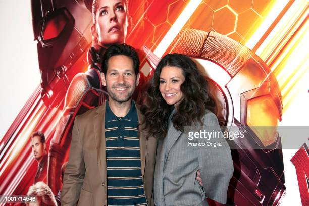 Actor Paul Rudd and Evangeline Lilly attend 'AntMan And The Wasp' photocall at The Russie Hotel on July 19 2018 in Rome Italy