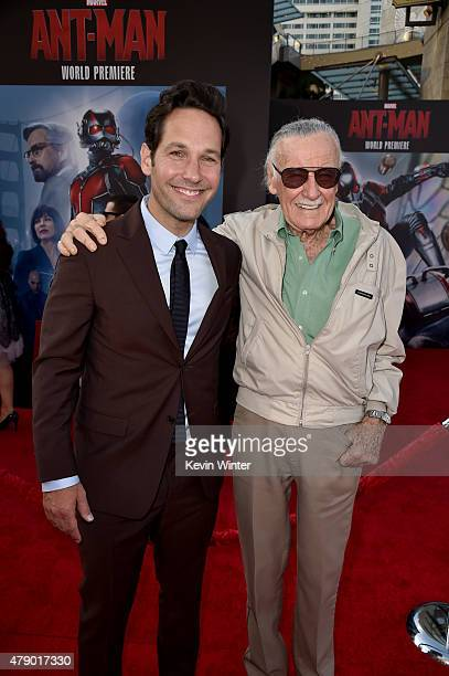 Actor Paul Rudd and Executive producer/comic book icon Stan Lee attend the premiere of Marvel's AntMan at the Dolby Theatre on June 29 2015 in...