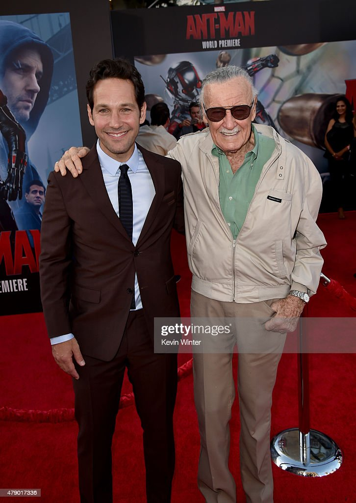 Actor Paul Rudd (L) and Executive producer/comic book icon Stan Lee attend the premiere of Marvel's 'Ant-Man' at the Dolby Theatre on June 29, 2015 in Hollywood, California.